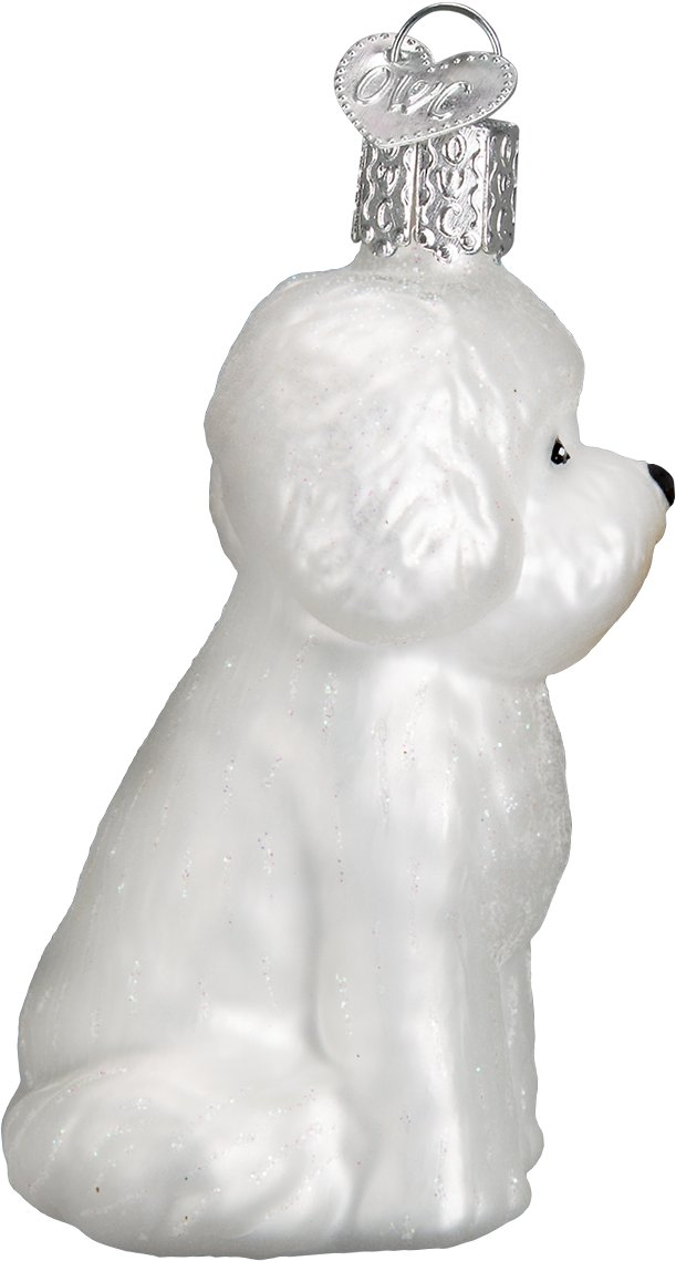 Old World Christmas Bichon Frise Glass Tree Ornament 325 Inch
