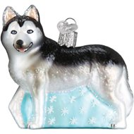 Old World Christmas Siberian Husky Glass Tree Ornament, 3.5-inch