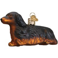 Old World Christmas Long-Haired Dachshund Glass Tree Ornament, 4-inch