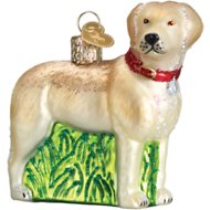 Old World Christmas Standing Yellow Labrador Retriever Glass Tree Ornament, 3.5-inch