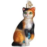 Old World Christmas Calico Cat Glass Tree Ornament, 4.25-inch