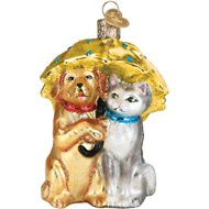 Old World Christmas Raining Cats & Dogs Glass Tree Ornament, 4-inch