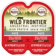 Nutro Wild Frontier Real Chicken & Beef Recipe Pate Adult High-Protein Grain-Free Cat Food Trays, 2.65-oz, case of 24 twin-packs
