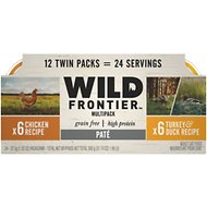 Nutro Wild Frontier Real Chicken & Real Turkey Recipe Pate Multipack Adult High-Protein Grain-Free Cat Food Trays, 2.65-oz, case of 12 twin-packs