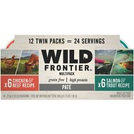 Nutro Wild Frontier Real Chicken & Beef, Real Salmon & Trout Recipe Pate Multipack Adult High-Protein Grain-Free Cat Food Trays, 2.65-oz, case of 12 twin-packs