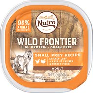Nutro Wild Frontier Small Prey Recipe Chicken Loaf with Chicken & Turkey Pieces Adult High-Protein Grain-Free Dog Food Trays, 3.5-oz, case of 24