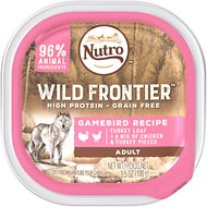 Nutro Wild Frontier Gamebird Recipe Turkey Loaf with Chicken & Turkey Pieces Adult High-Protein Grain-Free Dog Food Trays, 3.5-oz, case of 24