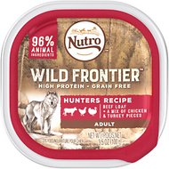 Nutro Wild Frontier Hunters Recipe Beef Loaf with Chicken & Turkey Pieces Adult High-Protein Grain-Free Dog Food Trays, 3.5-oz, case of 24