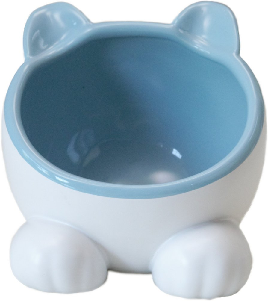 Vivipet Ceramic Big Head Elevated Cat Water Bowl Arctic