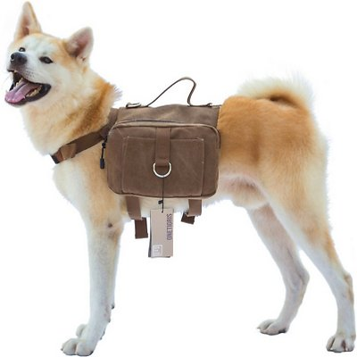 OneTigris Cotton Canvas Dog Backpack, Brown