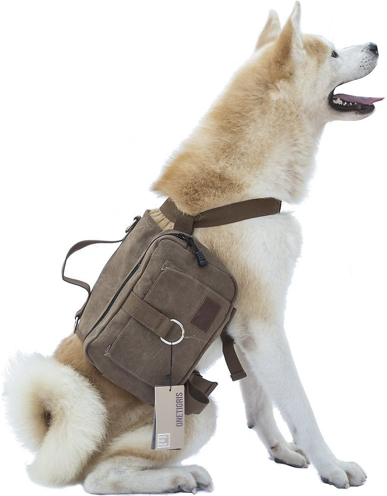Onetigris Cotton Canvas Dog Backpack Brown Chewy Com