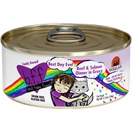 BFF Oh My Gravy! Best Day Eva! Beef & Salmon Dinner in Gravy Grain-Free Canned Cat Food, 5.5-oz, case of 24