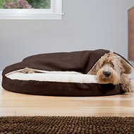 FurHaven Faux Sheepskin Snuggery Orthopedic Dog & Cat Bed, Espresso, 35-in