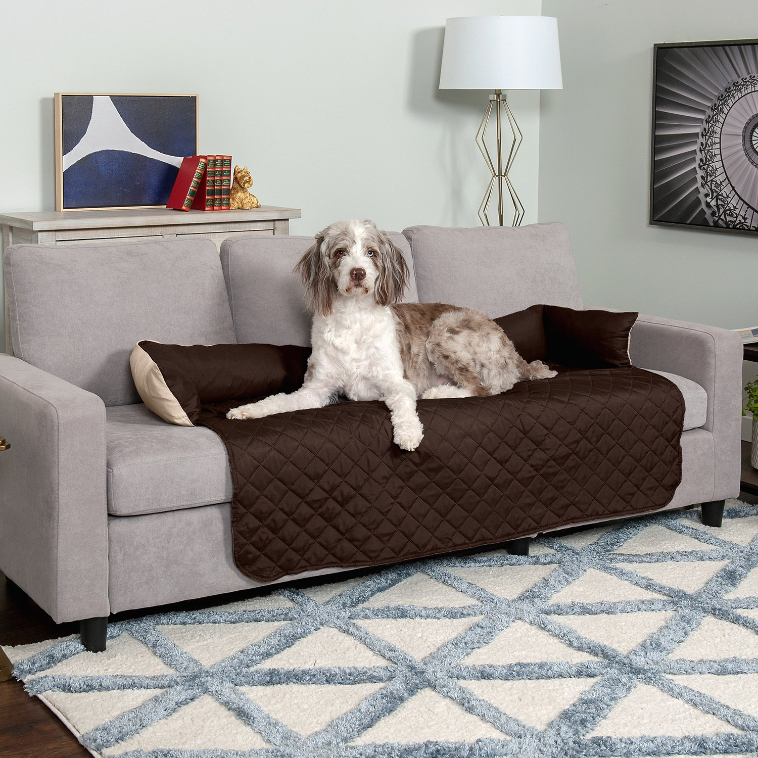 Furhaven Sofa Buddy Dog Amp Cat Bed Furniture Cover Espresso Clay X Large Chewy Com