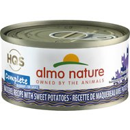 Almo Nature Complete Mackerel Recipe with Sweet Potatoes Grain-Free Canned Cat Food, 2.47-oz, case of 12