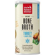 The Honest Kitchen Bone Broth Turkey Bone Broth with Ginger Dog & Cat Supplement, 5-oz jar