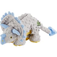 GoDog Dinos Chew Guard Frills Triceratops Dog Toy, Gray, Small
