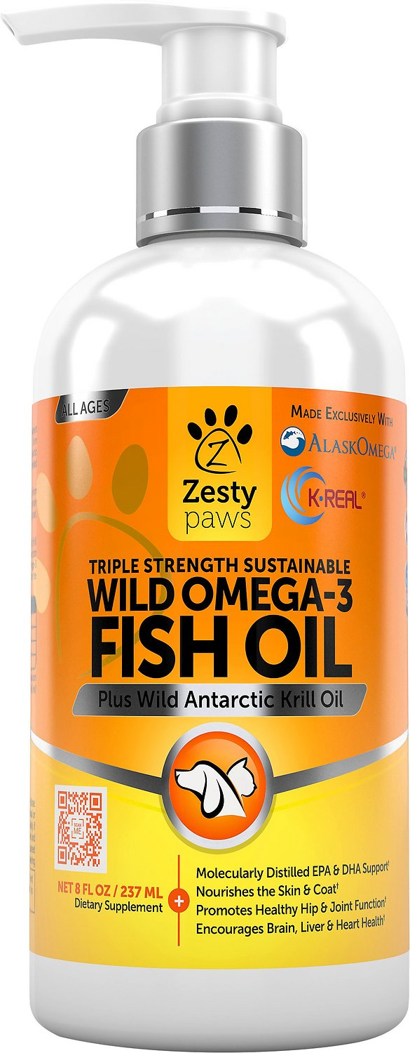 Zesty paws wild omega 3 fish oil plus antarctic krill oil for Dog food with fish oil