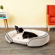 Petlinks Supreme Soother Gel Memory Foam Dog & Cat Bed, Cream & Gray, Large