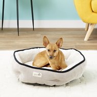 Petlinks Soothing Escape Gel Memory Foam Dog & Cat Bed, Cream & Gray, Medium