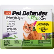 Hartz Pet Defender Plus Flea Treatment for Cats, 3 treatments