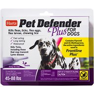 Hartz Pet Defender Plus Flea Treatment for Dogs 45-88 lbs, 3 treatments