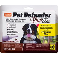 Hartz Pet Defender Plus Flea Treatment for Dogs 89-132 lbs, 3 treatments