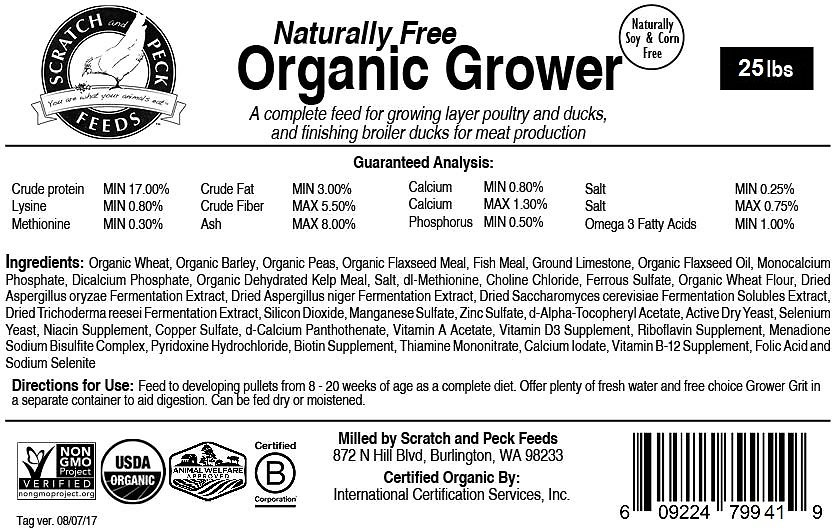 Scratch And Peck Feeds Naturally Free Organic Grower Chicken Duck