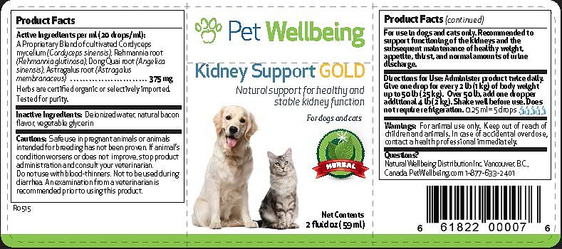 Pet Wellbeing Kidney Disease Support Gold Dog Supplement 2 Oz