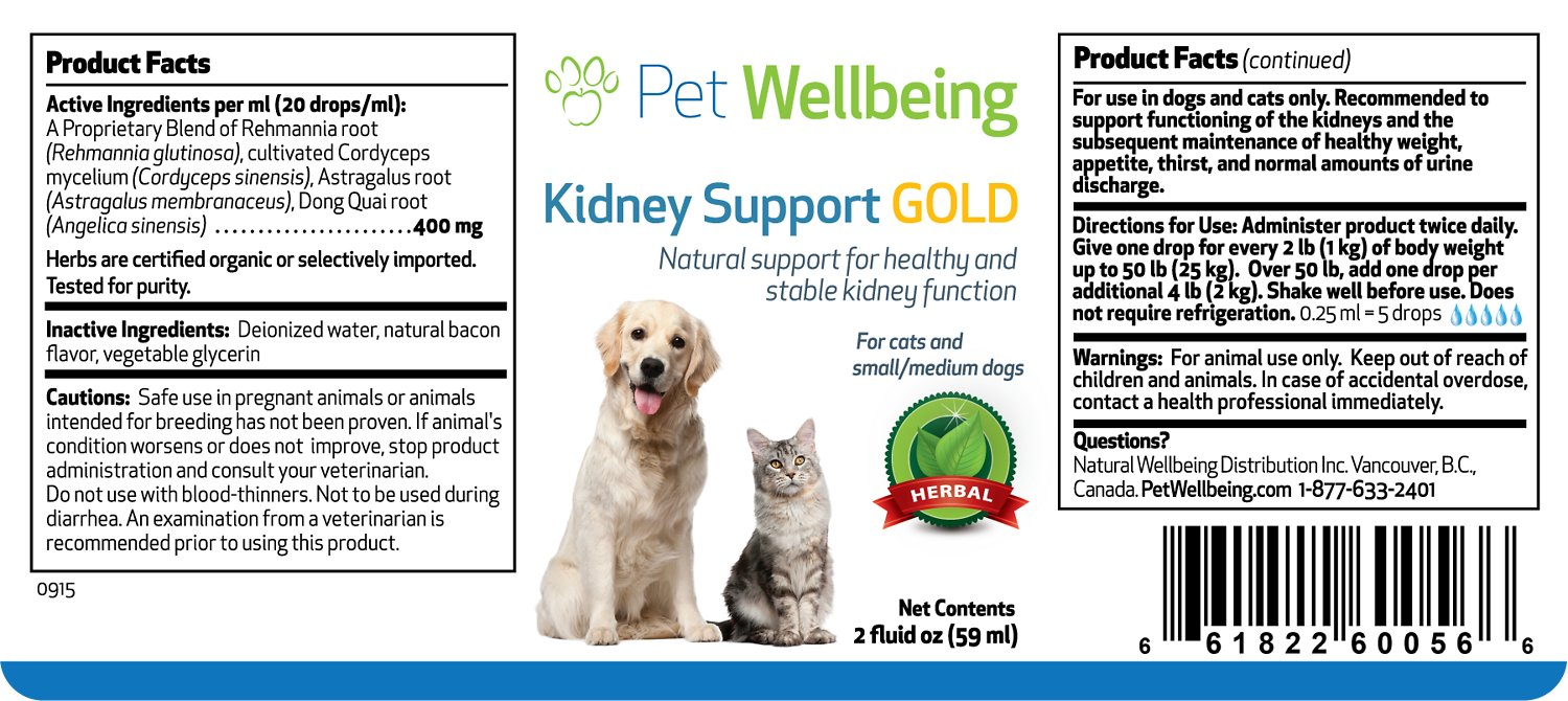 Pet Wellbeing Kidney Disease Support Gold Cat Supplement 2 Oz