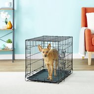 OxGord Double-Door Folding Heavy-Duty Wire Dog Crate, 24-in