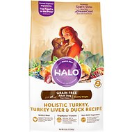 Halo Holistic Turkey, Turkey Liver & Duck Recipe Grain-Free Healthy Weight Adult Dry Dog Food, 25-lb bag