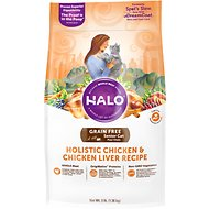 Halo Holistic Chicken & Chicken Liver Recipe Grain-Free Senior Dry Cat Food, 3-lb bag