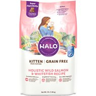 Halo Holistic Wild Salmon & Whitefish Recipe Grain-Free Kitten Dry Cat Food, 3-lb bag