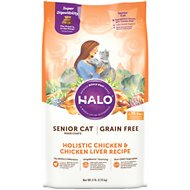 Halo Holistic Chicken & Chicken Liver Recipe Grain-Free Senior Dry Cat Food, 6-lb bag