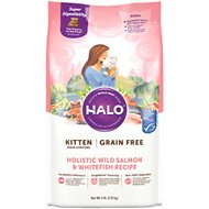 Halo Holistic Wild Salmon & Whitefish Recipe Grain-Free Kitten Dry Cat Food, 6-lb bag