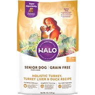 Halo Holistic Turkey, Turkey Liver & Duck Recipe Grain-Free Senior Dry Dog Food, 4-lb bag