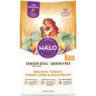 Halo Holistic Turkey, Turkey Liver & Duck Recipe Grain-Free Senior Dry Dog Food, 10-lb bag