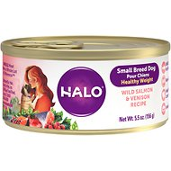 Halo Wild Salmon & Venison Recipe Healthy Weight Small Breed Canned Dog Food, 5.5-oz, case of 12