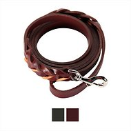 Logical Leather Braided Dog Leash, Brown, 6-ft