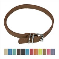 Dogline Round Soft Leather Dog Collar, Brown, 19-22 in, 1/2-in