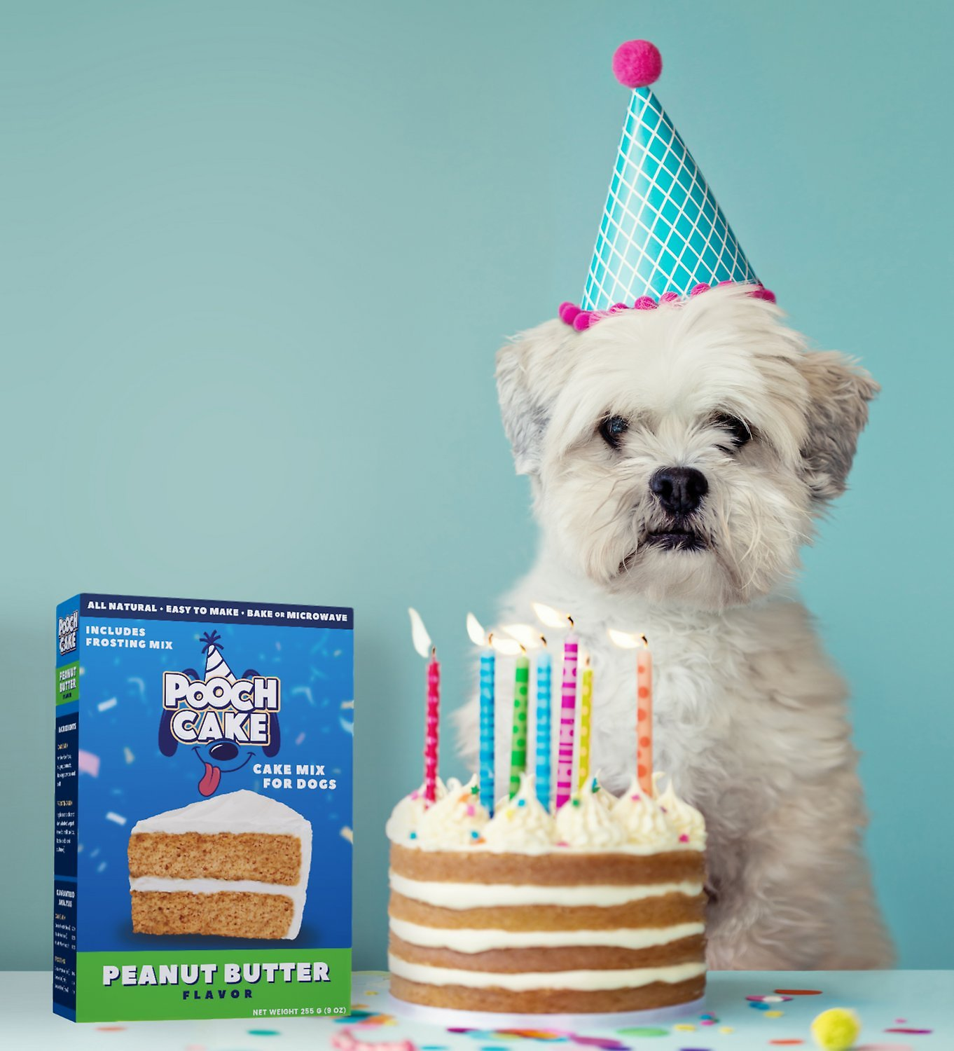 Image result for Pooch Cake Peanut Butter Flavor Birthday Cake Mix for Dogs Includes Frosting Mix, Wheat Free, 9 oz Box