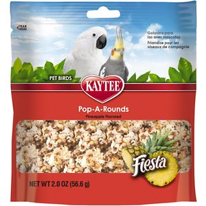 Kaytee Fiesta Pop-A-Rounds Pineapple Bird Food, 2-oz bag; Treat your birdy to a yummy treat that packs nutrition with the Kaytee Fiesta Pop-A-Rounds Pineapple Bird Food. Made of all natural popped milo, or sorghum, plus delicious and nutritious pineapple and sweetened with honey. Add it to your pal's food to provide variety and fight off boredom that can turn birdies into picky eaters, or use it during training or just bonding with your feathered bestie. Plus, it comes in a convenient resealable bag to maximize freshness.