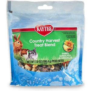 Kaytee Country Harvest Blend Rabbit, Guinea Pig & Chinchilla Treats, 7-oz bag; Give your small companion pet a fun, tasty and nutritious treat with Kaytee Country Harvest Blend Rabbit, Guinea Pig & Chinchilla Treats. Treats are a great way to bond with your small pet, provide them with an enriching activity, and satisfy their need to chew. This delicious, nutritious mix is made with real fruit like papaya, bananas and raisins, along with savory nuts and seeds including sunflowers, peanuts and pumpkin seeds. They also contain sun-cured timothy hay and alfalfa meal–both excellent sources of fiber for healthy digestion.