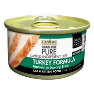 CANIDAE Grain-Free PURE Limited Ingredient Diet Morsels with Turkey Canned Cat Food, 3-oz, case of 18