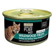 CANIDAE Grain-Free PURE WILD Wildwood Fields with Turkey & Turkey Liver Canned Cat Food, 3-oz, case of 18