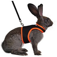 Niteangel Adjustable Soft Harness with Elastic Leash for Rabbits, Black, Large