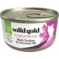 Solid Gold Tropical Blendz with Turkey & Coconut Oil Pate Grain-Free Canned Cat Food, 3-oz, case of 24