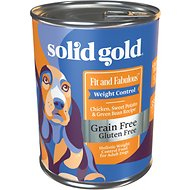 Solid Gold Fit & Fabulous Chicken, Sweet Potato & Green Bean Weight Control Recipe Grain-Free Canned Dog Food, 13.2-oz, case of 12