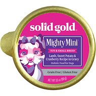 Solid Gold Mighty Mini Lamb, Sweet Potato & Cranberry Toy & Small Breed Recipe Grain-Free Dog Food Trays, 3.5-oz, case of 12
